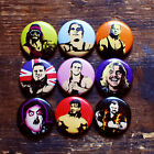 """1"""" WRESTLING BUTTONS wwf macho man andre the giant pins mr perfect owen hart wwe"""