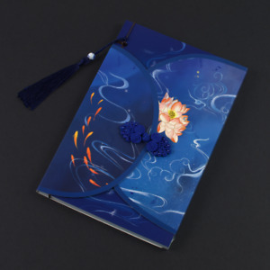Blue hand bound notebook with different coloured illustrations on each page