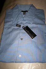 NWT VANHEUSEN NO IRON L/S DRESS SHIRT SPREAD COLLAR-BLUE STRIPE-LARGE 16 16.5