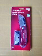 Knife Husky 108011 Red Folding Lock-Back Utility Knife with 10 Blades NEW