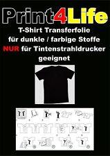 50 Blatt T-Shirt Folie Transferfolien Bügelfolien Inkjet A4 für dunkle Stoffe