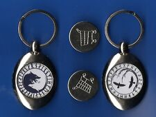 2 TROLLEY COIN KEYRING s YGGDRASIL NORSE WOLF