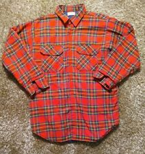 LL Bean Vinatge Plaid Flannel Thermal Insulated Shirt Jacket Red Made in USA XLT