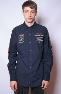 Aeronautica Militare Long Sleeve Shirt Button Up size M Navy Blue
