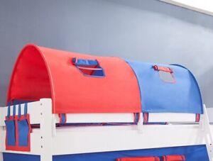 Tunnel 155 cm für Hochbett Spielbett Etagenbett blau rot Halterungen Weiss