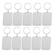 100pcs Key Chain Transparent Rectangle Photo Frame Holders for DIY Key Chain