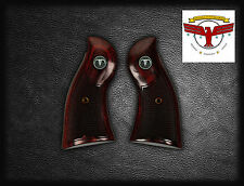 RUGER REDHAWK OXBLOOD GRIPS ~ WITH CHECKERING + STEER SKULL MEDALLIONS