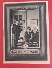 Catalogue LA VOIX DE SON MAITRE Janvier 1937 Pierre Bernac, Francis Poulenc..  *