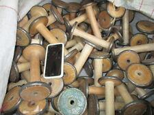 "Vintage Wooden Industrial Textile Bobbins Spools Cotton Reels Factory x5 Old 6"""