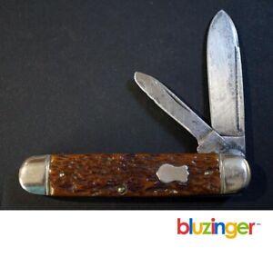 Vintage BOKER Tree Brand  Large  Genuine Bone Cigar Jack Pocket Knife