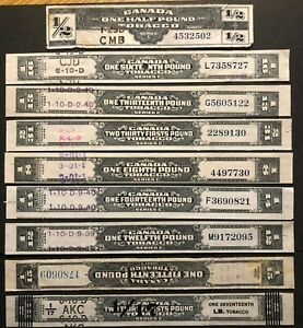 CANADA - TOBACCO EXCISE TAX- SERIES 'B' + SERIES 'C' STRIP - STAMPS -USED