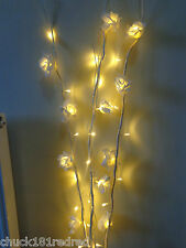 3 Cream/Rose Branch/Twig Lights/White Lights-120cm/Mains/Christmas/Wedding