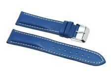Cinturino orologio vera pelle blu cuciture a contrasto 20mm tipo breitling paner