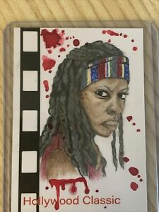 Walking Dead PSC Sketch Card Michonne Hand Drawn Multimedia Sketch Splatter 1/1
