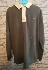 Vintage Adidas Trefoil Rugby Style Long Sleeve Polo jumper sweater Grey 2XL