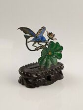 Chinese Silver Filigree & Enamel Figure of a Kingfisher Bird Wood Stand FINE