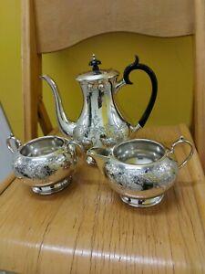 20TH CENTURY Sheffield Silver Plate Tea Set with Sugar And Milk Jug