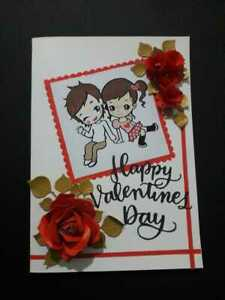 BEAUTIFUL HAPPY VALENTINE CARD - Handmade 3D Card with Paper flowers with Love