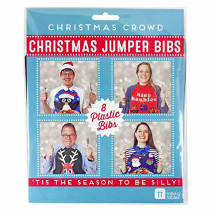 UGLY CHRISTMAS SWEATER BIBS CHRISTMAS DINNER BIBS SET OF 8 NEW Talking Tables