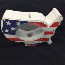 Wooden United States Shape Coin Bank with See Through Panels GREAT GIFT