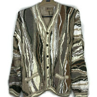 Vintage Coogi Classics Men's Cardigan Sweater Off White Cosby Hip Hop Tan M