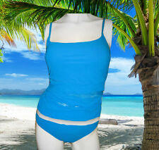 NEW GOTTEX blue PARTIALLY SEE THRU tankini BATHING SUIT SWIMSUIT SET Size 8