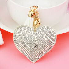 Heart Keyring Crystal Rhinestone Faux Suede Gold White Black Bag Purse Mobile