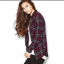 137782718f546d Garage Women Soft Flannel Boyfriend Shirt Size XS Red Black Plaid  Longsleeve F35
