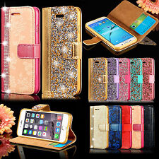 Luxury Diamond Crystal Magnetic Leather Flip Wallet Case Cover For iPhone X 6s 7