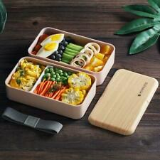 Microwave Lunch Box Japanese Wood Bento Case 2 Layer Container Storage Fat f