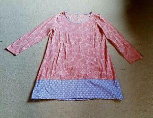 Womens Nightgown-GARNET HILL-pink/purple floral organic cotton knit ls-XL