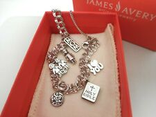 James Avery Sterling Silver Charm Bracelet & 6 James Avery Charms/Box&Pouch