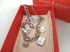 James Avery Sterling Silver Charm Bracelet & 6 James Avery Charms/Box&Pouch