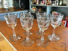 """Set Of 6.  Libbey SILVER LEAF Frosted 5 3/4"""" CORDIAL/ WINE GLASSES. 4 oz.  EUC"""