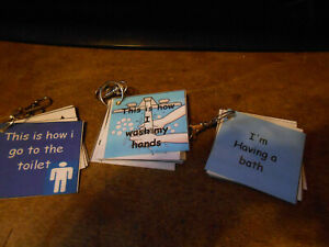 NEW 3 BOYS HYGIENE PROMPT KEYRINGS ,BATH,TOILET AND WASH HANDS