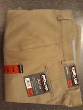 NEW Signature Mens Non-Iron Classic Fit 34 34 100% cotton pants Khaki/biscuit
