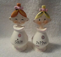 Vintage Jolly Floral Girls Salt and Pepper Shakers Pixie Pixieware Holt Howard