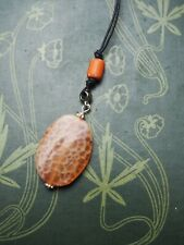 Fire Agate Gemstone Pendant On Cord - Pagan, Wicca, Witchcraft, Healing, Crystal