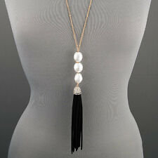 Long Simple Dainty Gold Chain Pearl Soft Tassel Pendant Statement Necklace