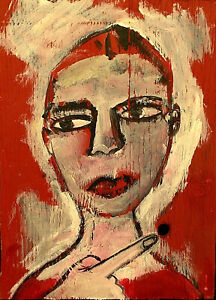 POINTING Raw Folk Art Brut Painting Outsider T. Marie Nolan Original Vision