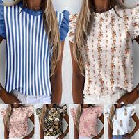 Women Ruffle Short Sleeve O Neck T Shirts Summer Casual Tees Shirt Tops Blouse