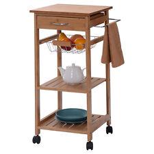 Rolling Bamboo Kitchen Trolley Cart Storage Shelf Island w/ Drawer Baskets New