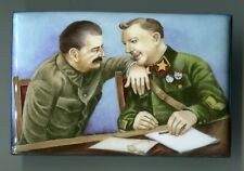Russian hand-painted enamel age unknown Stalin and Voroschilov