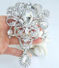 "5.12"" Wedding Clear Austrian Crystal Teardrop Brooch Pin Pendant 04042C1"