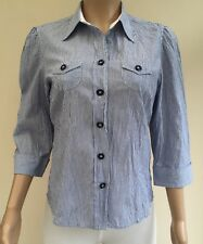 M&S White Blue Stripe Twist & Knot Crinkle Shirt Size 12  #JT7