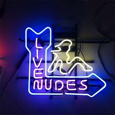 """17""""X14"""" LIVE NUDES GIRL HANDCRAFT REAL GLASS NEON LIGHT BEER BAR PUB CLUB SIGN"""