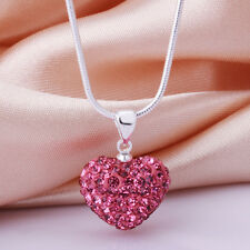 Pink Silver Plated Crystal Heart Glitter Necklace & Pendant.16 in Snake Chain