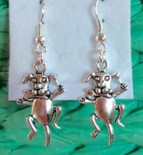 DOG WITH BONE CUTEST SILVER EARRINGS JUST ADORABLE FOR DOG LOVERS!