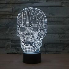 3D Lamp Skull Optical Illusion Led Night Light 7 Colors Touch Switch