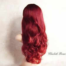 Fantastic Layers Hot Red Mix Long Curly 3/4 Wig Hairpiece Half Wig 079